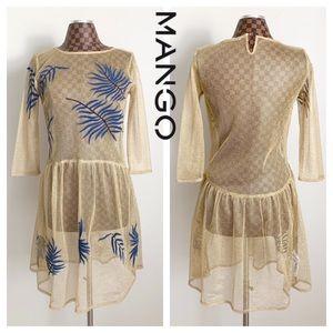 Mango Gold Metallic Fishnet Sheer Dress Blue Palms